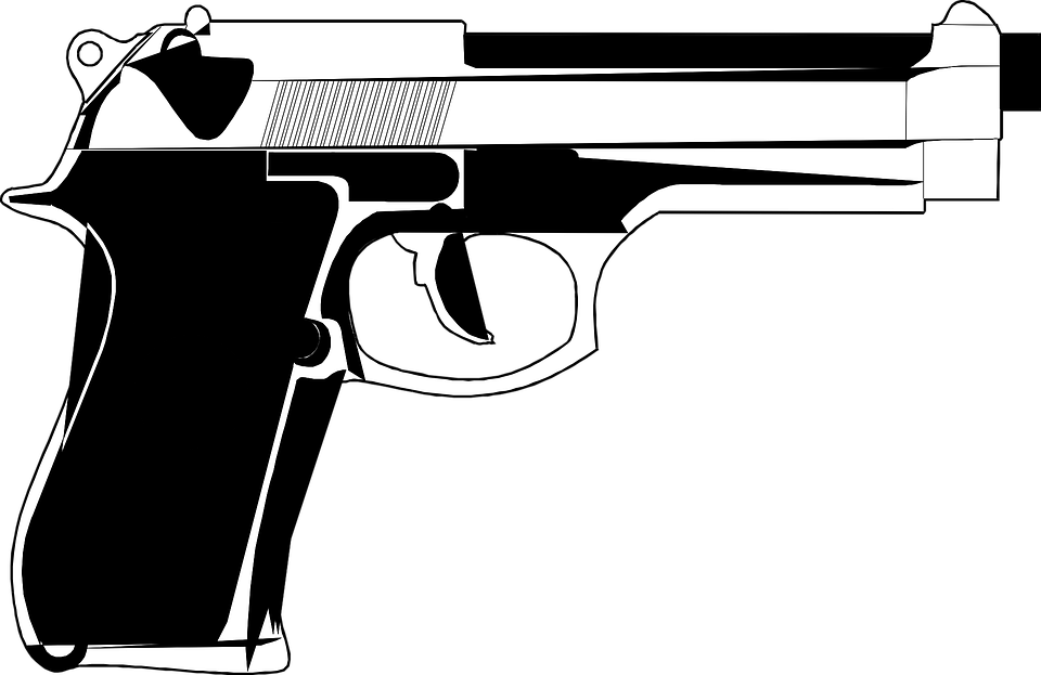 Handgun, Pistol, Weapon, Revolver, Gun, American - Gun PNG Black And White