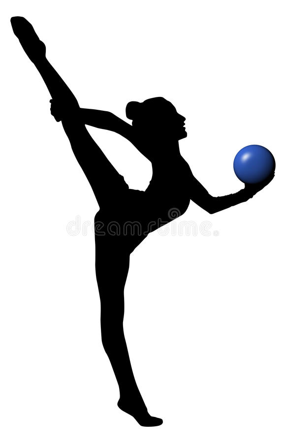 Download Gymnastics Woman Silhouette With Blue Ball. Split. PNG Available  Stock Photo - Image - Gymnastics PNG Splits