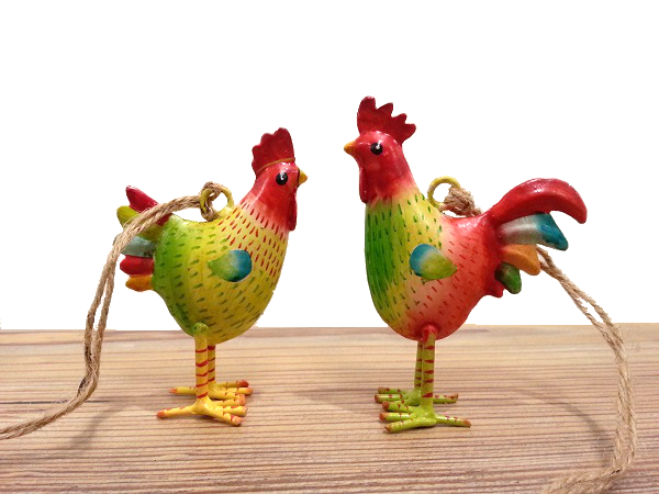 Metall Hahn und Henne zum Auf
