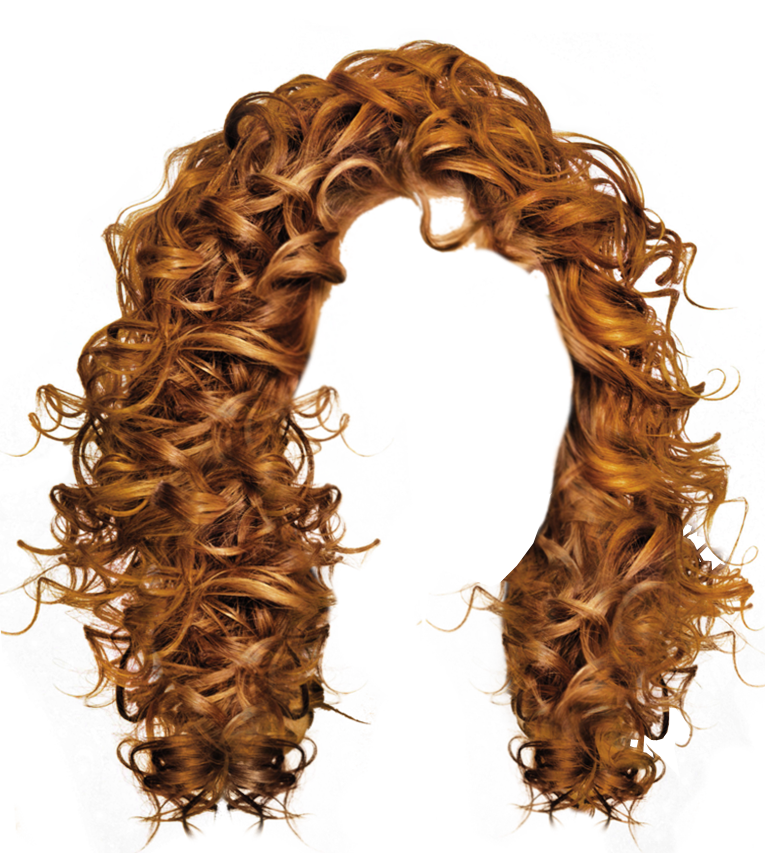 . PlusPng.com Long Brown Curly Hair Transparent Image - Hair Wig PNG