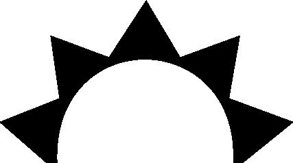 half sun logo clipart - Half Sun With Rays PNG