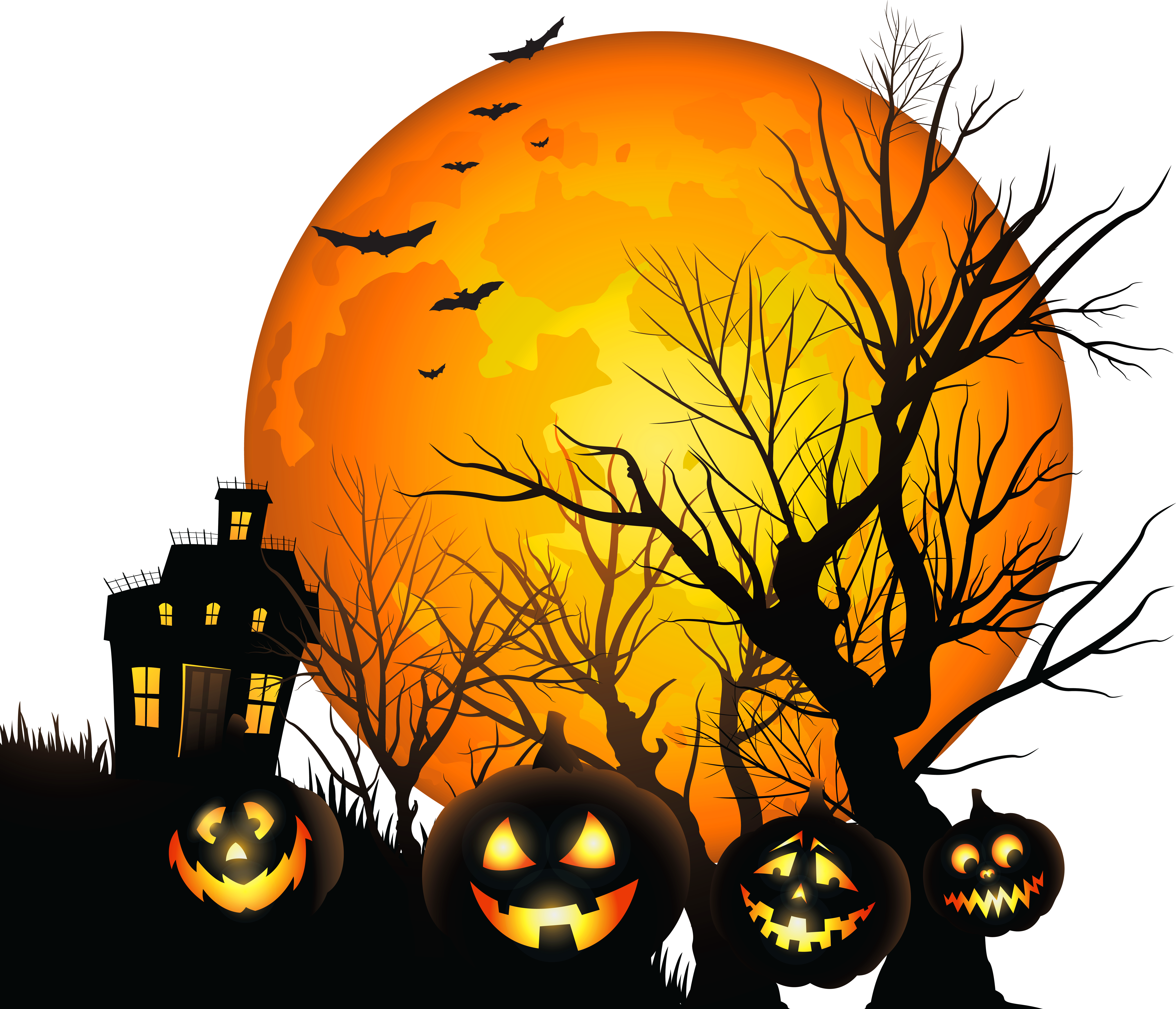 Large Haunted House and Moon - Halloween PNG