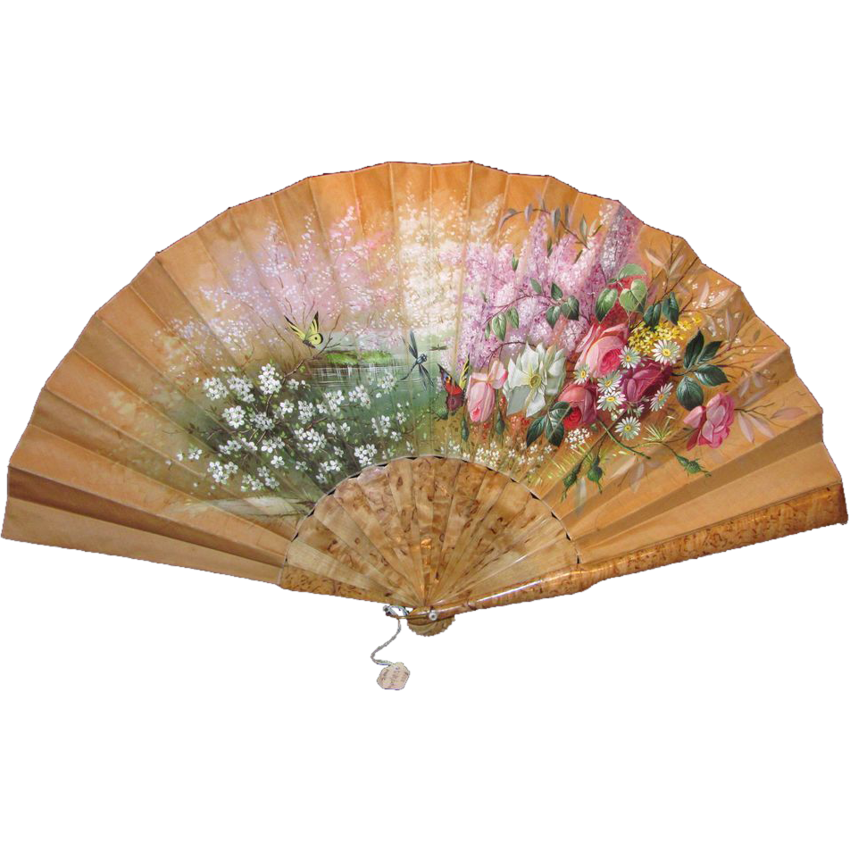 Antique Tiffany Hand Painted Fan Circa 1880 - Hand Fan PNG