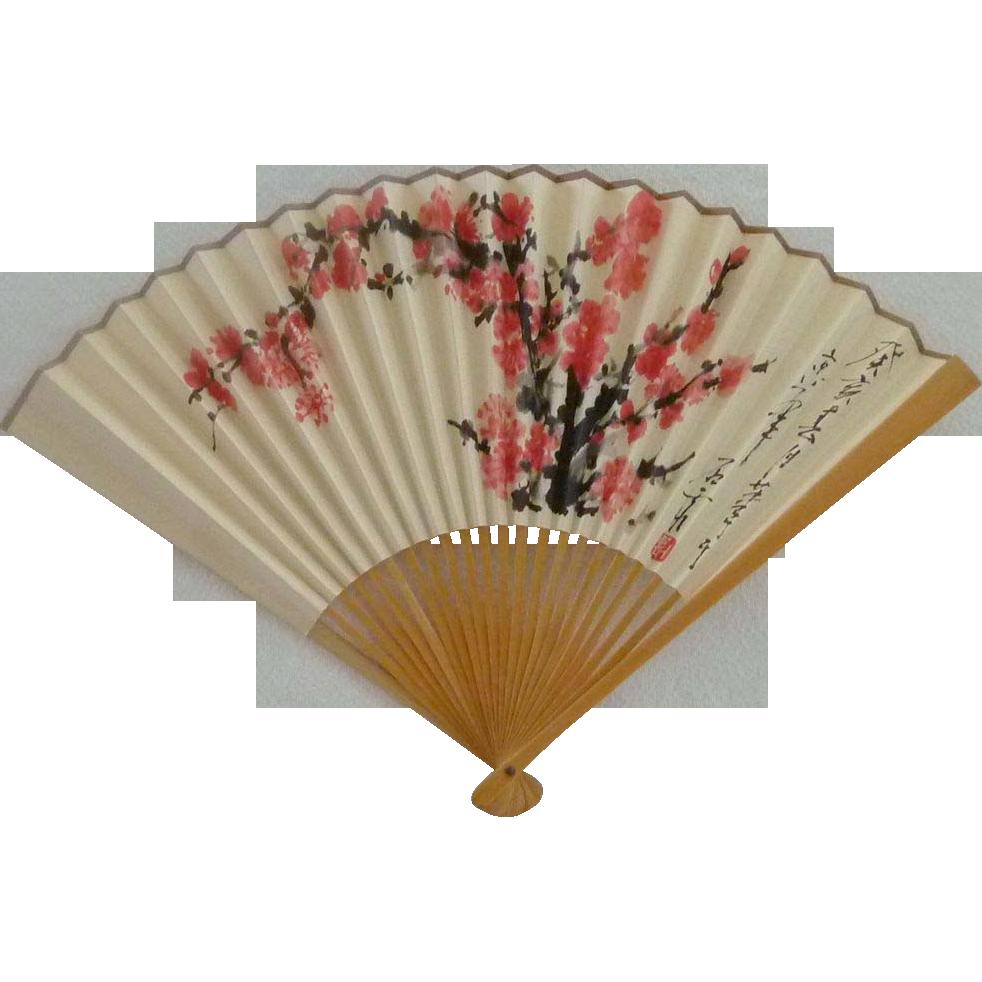 China Airlines Folding Hand Fan Circa 1980u0027s u2013 Pink Cherry Blossoms - Hand Fan PNG