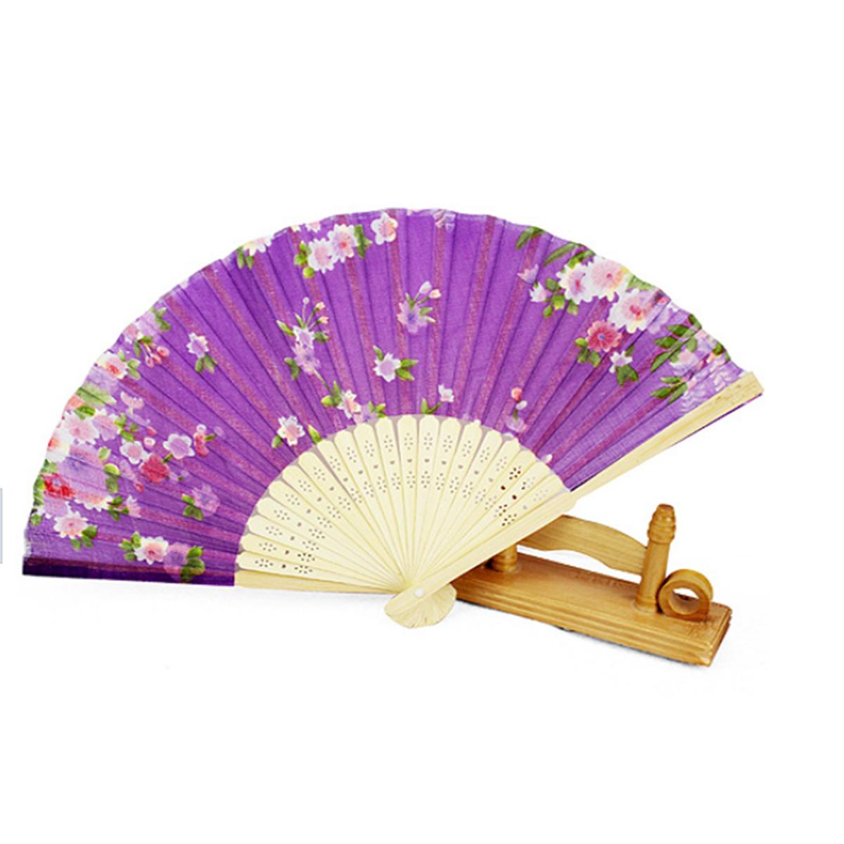 Flower-Chinese-Japanese-Silk-Bamboo-Fan-Dance-Folding- - Hand Fan PNG