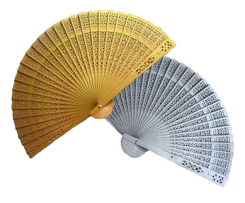 WFAN1008 Painted Sandalwood Fans (Gold/Silver) - As Low As RM4.50 - Hand Fan PNG