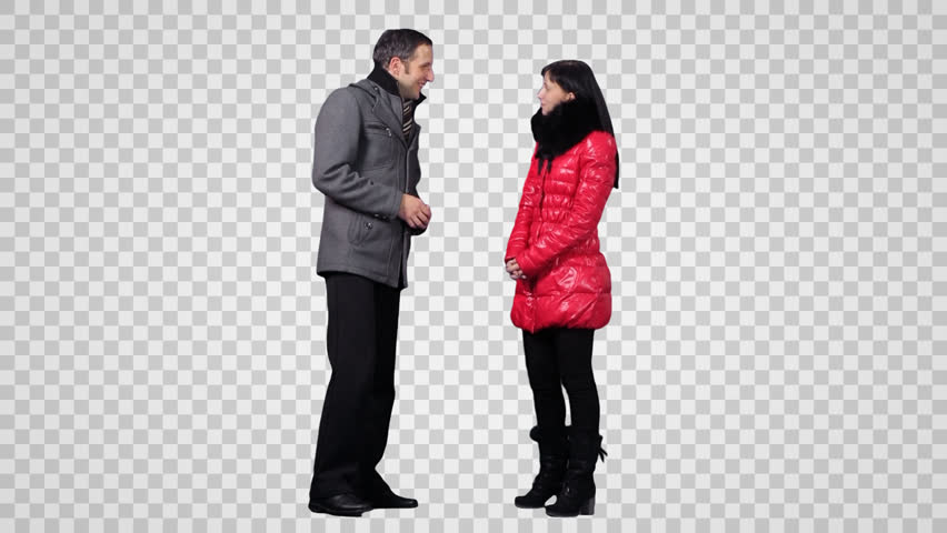 Guy u0026 girl are standing and talking each other face to face. Wintertime.  Footage - Handsome Man PNG HD