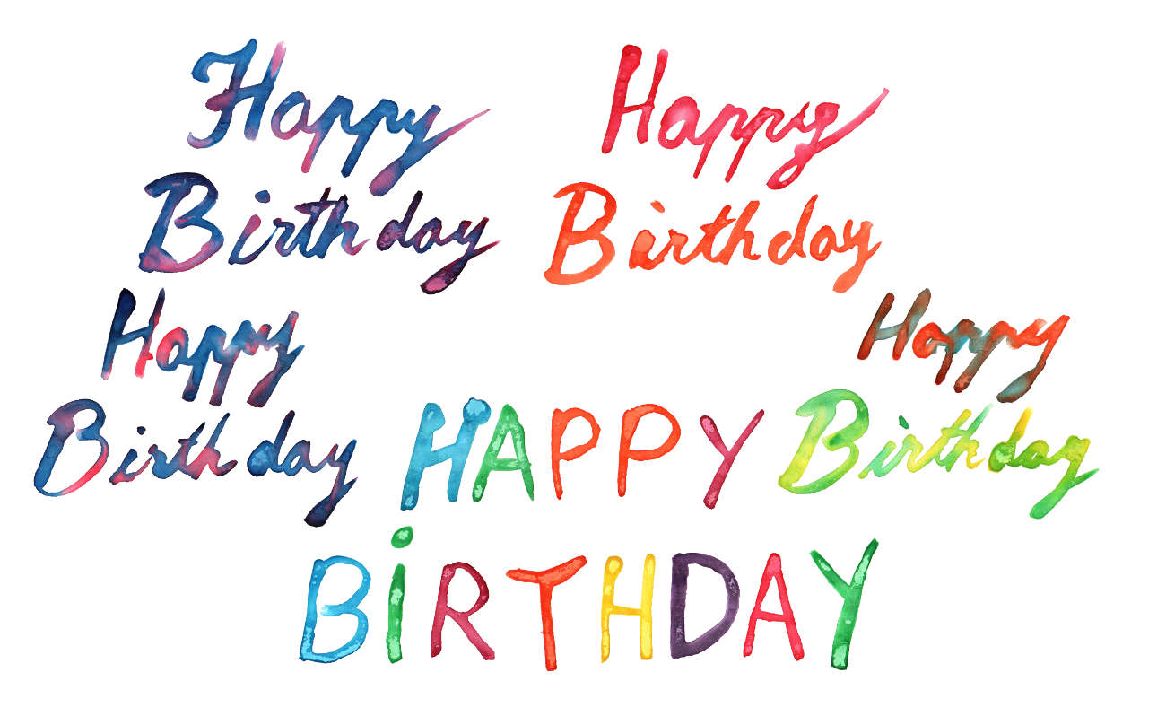 5 Happy Birthday Watercolor (PNG Transparent) - Happy Birthday Day PNG