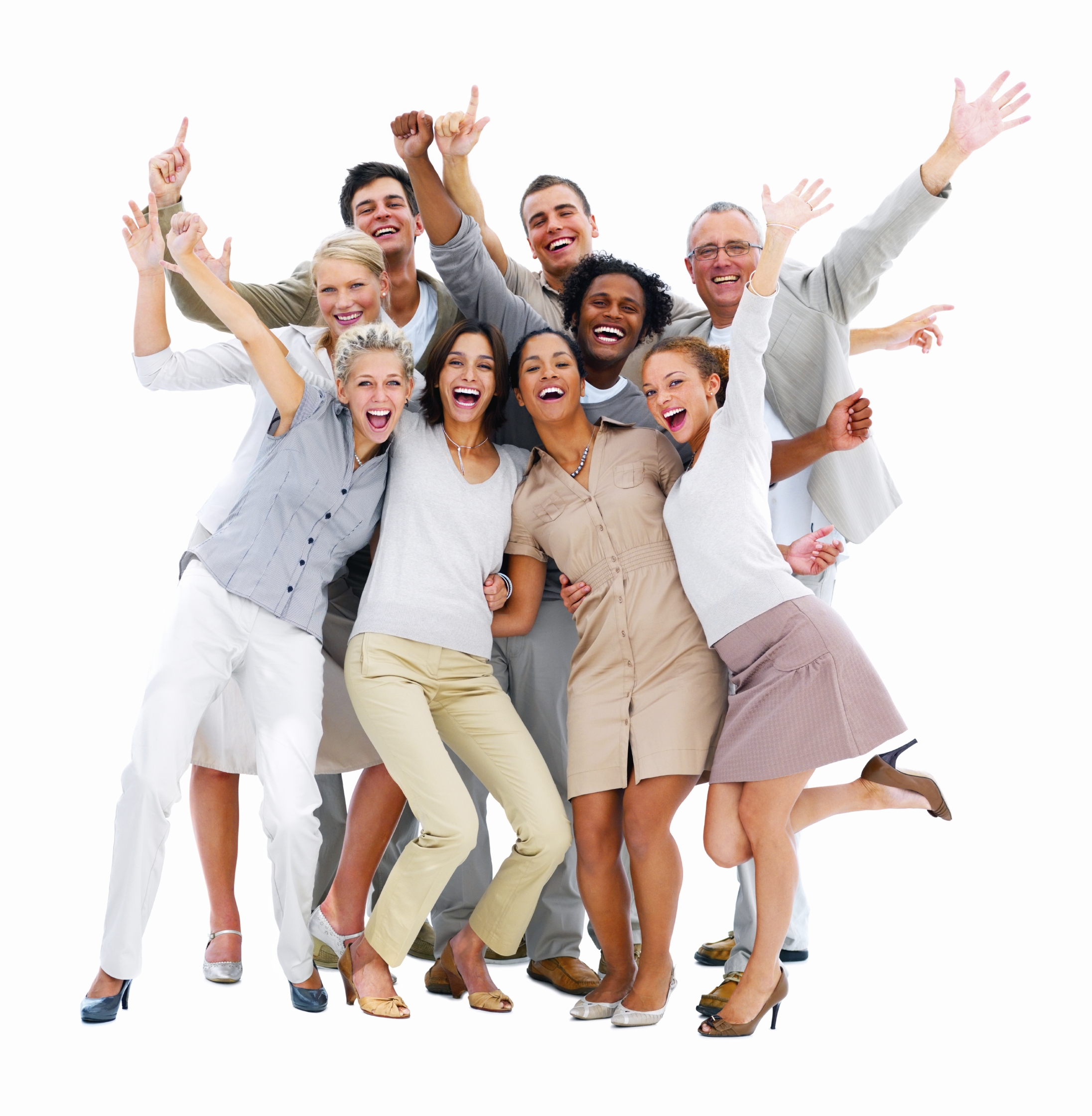 Happy business people laughing against white background - Happy Person PNG
