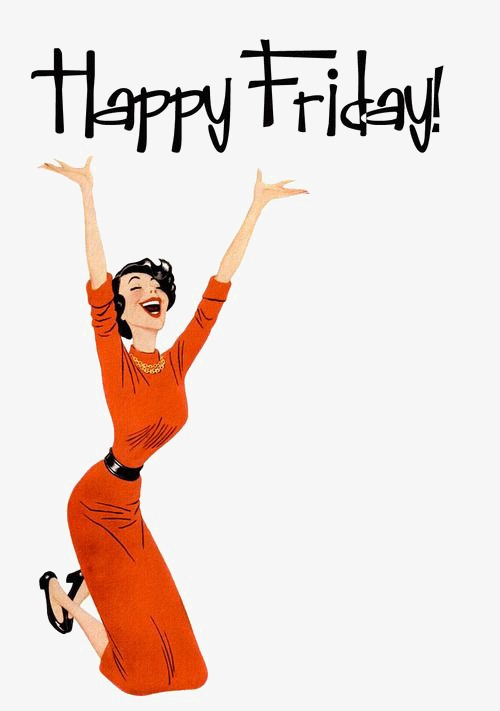 Hello Friday, General English Wordart, Friday, Girl Red Dress PNG Image - Happy Friday PNG