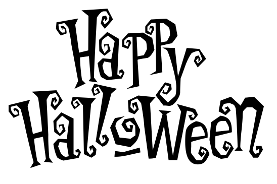 happy halloween haunted BW -