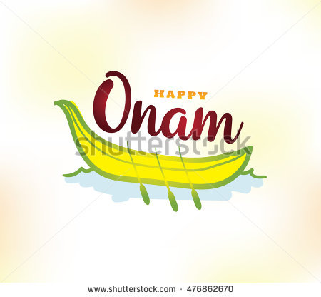 Happy Onam background. Traditional festival in Kerala, South India. Vector  illustration with typography