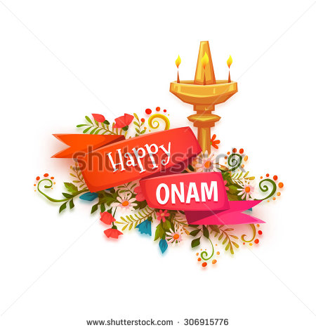 Happy Onam Banner With Flowers And Lamp - Happy Onam PNG