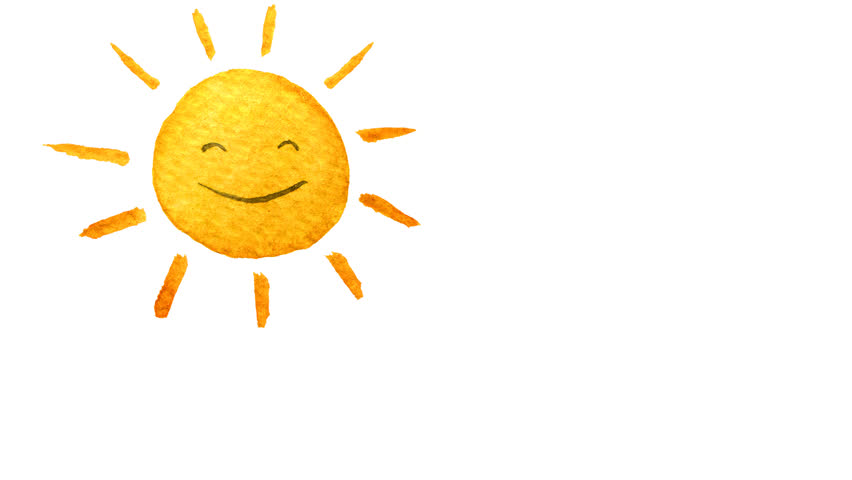 Cute Cartoon Sun Painted In Watercolor. Seamless Loop Animation. Hand Drawn  Illustration On Transparent Background. PNG Plus Alpha Channel. - Happy Sun PNG No Background