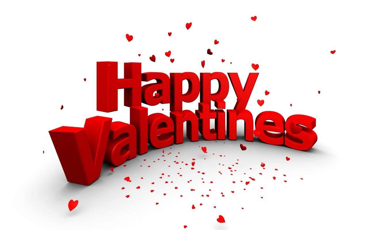 Happy Valentineu0027s 3D Red Text Wallpaper - Happy Valentines Day PNG HD