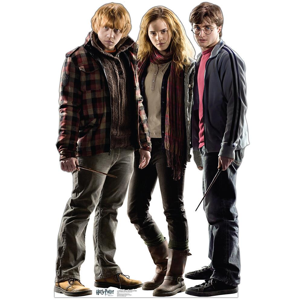 Harry Potter and the Deathly Hallows Harry, Hermione, and Ron Standee - Harry Potter HD PNG