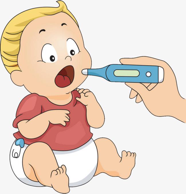Cartoon Baby Fever Measuring Body Temperature, Cartoon Baby, Have A Fever,  Take Temperature - Have A Baby PNG