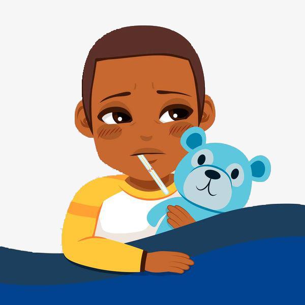 Flat Illustration Baby Sick Fever, Flat Illustration, Baby, Have A Fever PNG  Image - Have A Baby PNG