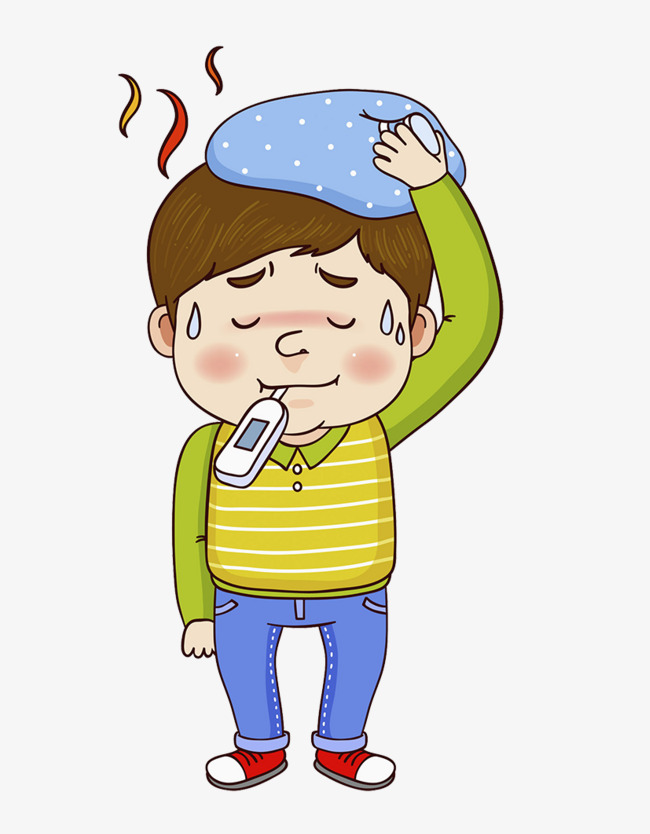 Sick, Fever, Physical Cooling, Baby Fever Illustration, Have A Fever, Baby - Have A Baby PNG