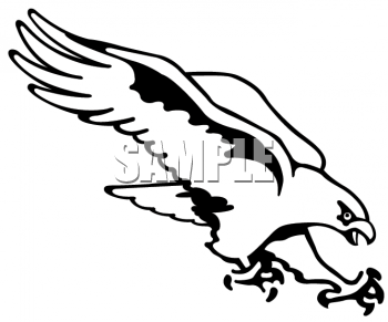 Black and White Clipart Picture of an Attacking Hawk - Hawk PNG Black And White