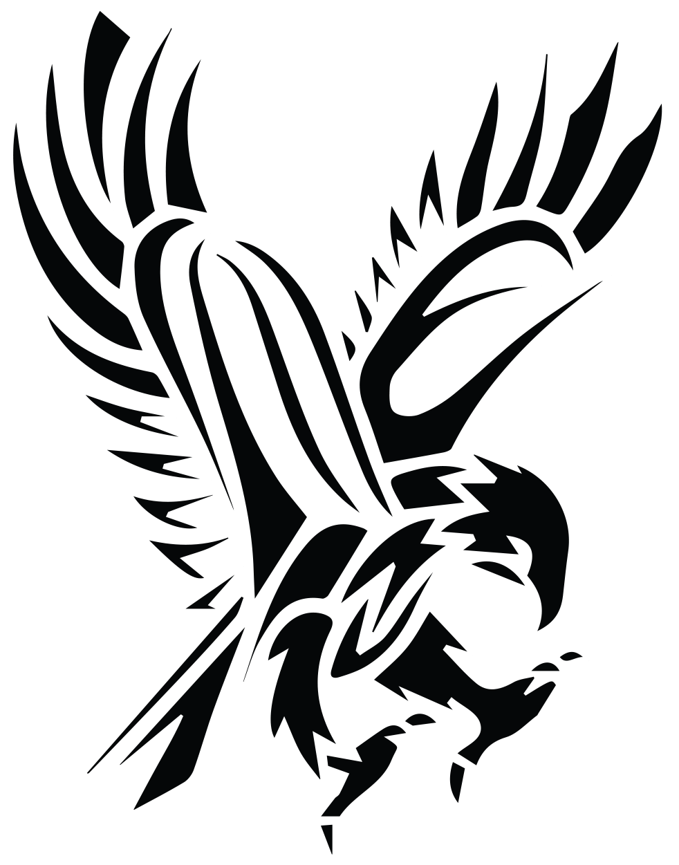 Black Tribal Flying Hawk Tattoo Stencil More - Hawk PNG Black And White