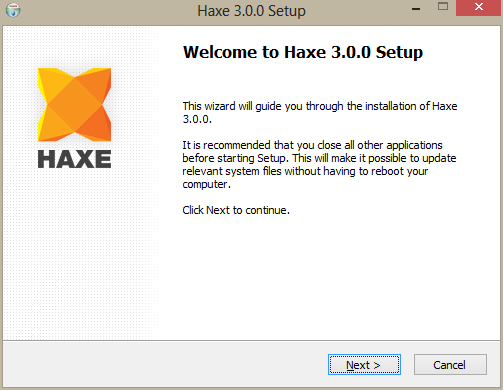 3. If you are using automatic installer, then just run it, and just install - Haxe PNG