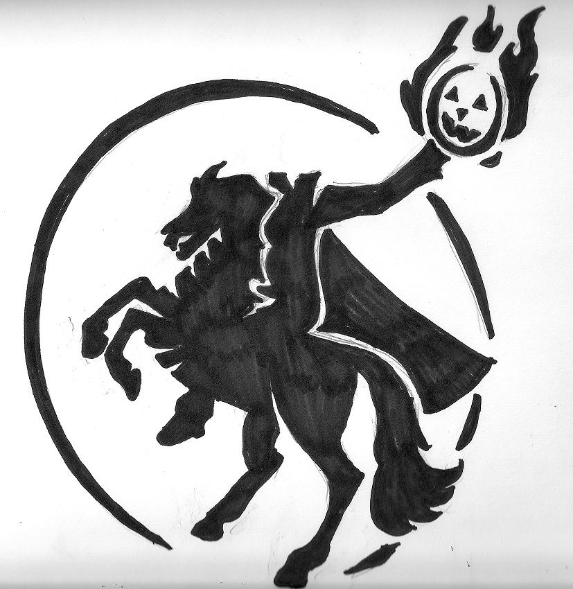 Headless Horseman stencil by Ikasama PlusPng.com  - Headless Horseman PNG