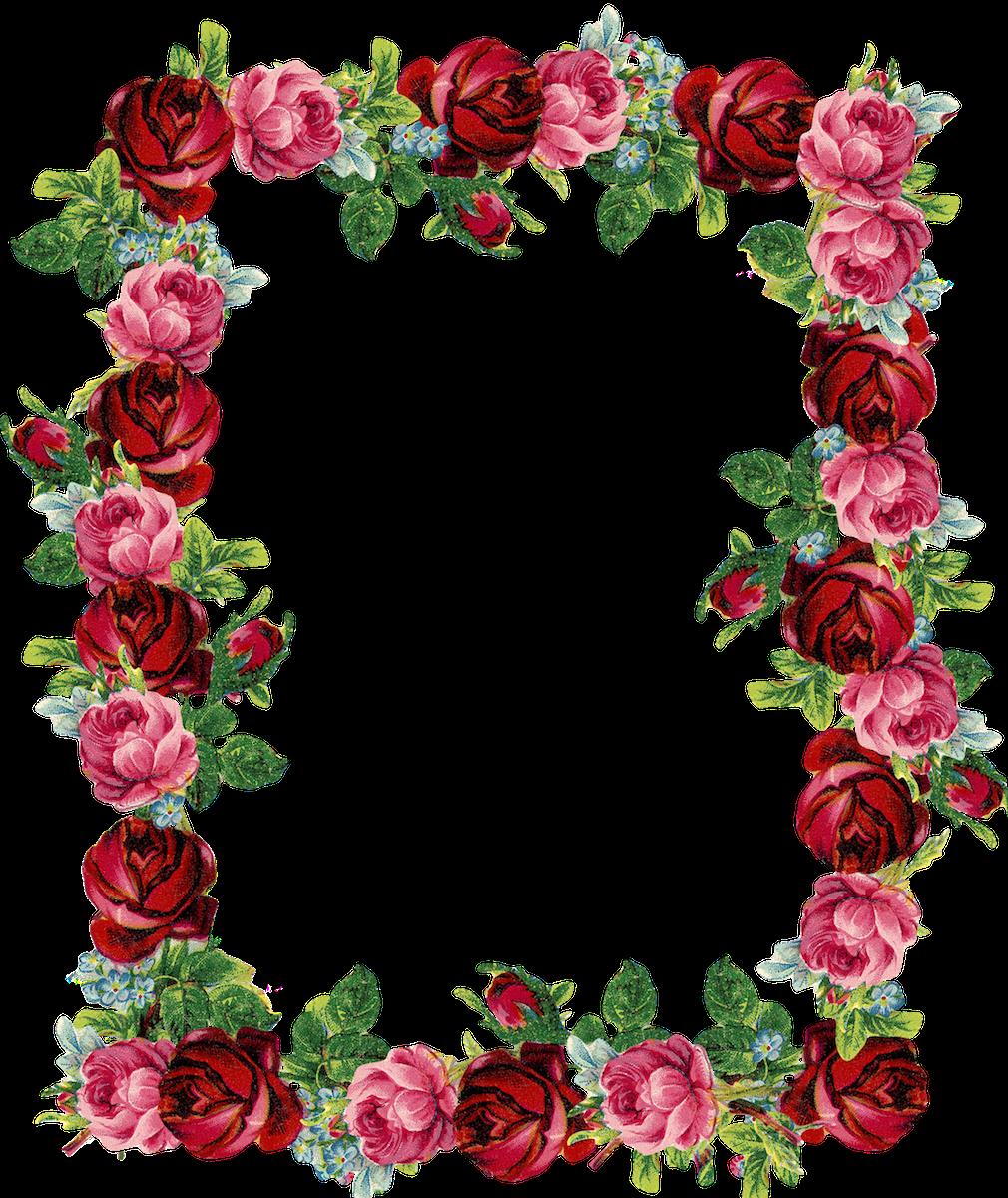 Free digital vintage rose frame and border png - Rosenrahmen - freebie |  MeinLilaPark u2013 DIY - Heart Border PNG HD