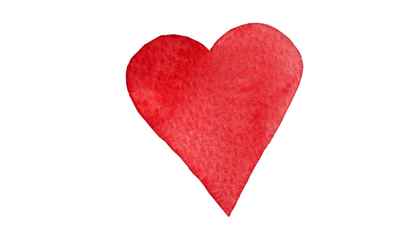 Watercolor painted red heart. Perfect for Valentineu0027s day. Seamless loop  animation. Hand drawn - Heart Jpg PNG HD