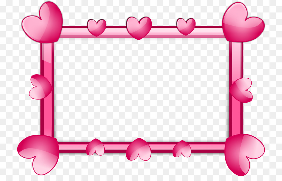 Picture frame Heart Pink Clip art - Pink Border Frame PNG HD - Heart PNG HD Free