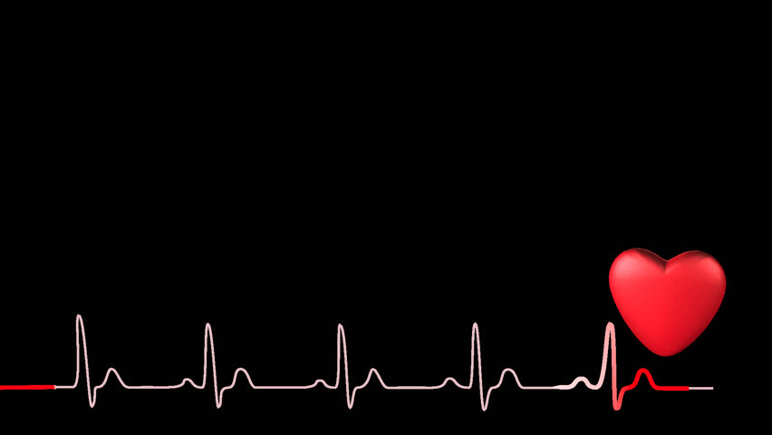 heartbeat png hd 3d heart symbol with synchronized red ecg trace beating at just over 90bpm seamless 852