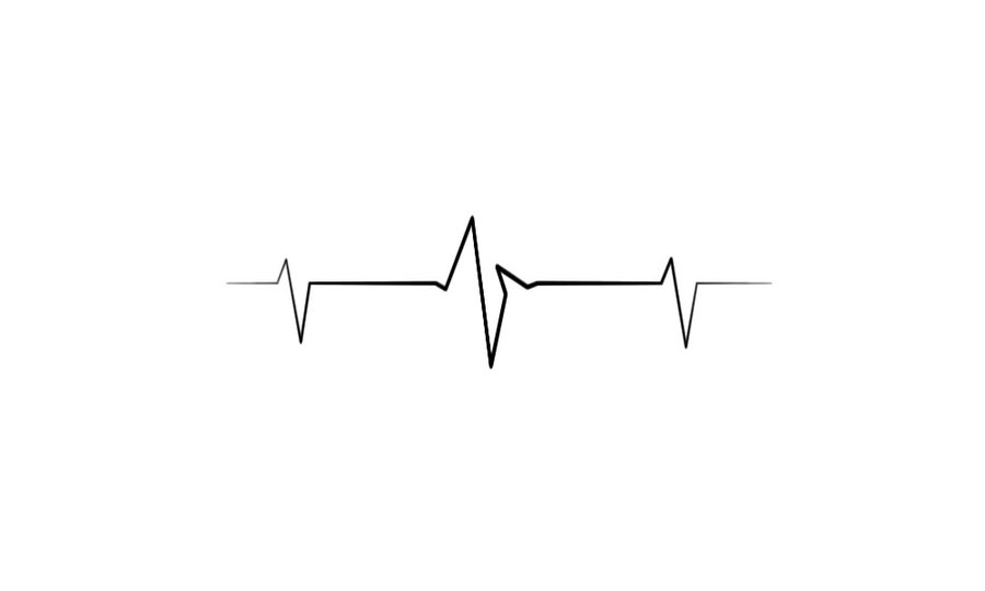 Black Simple Heartbeat Tattoo Stencil By Campinoacids - Heartbeat PNG HD