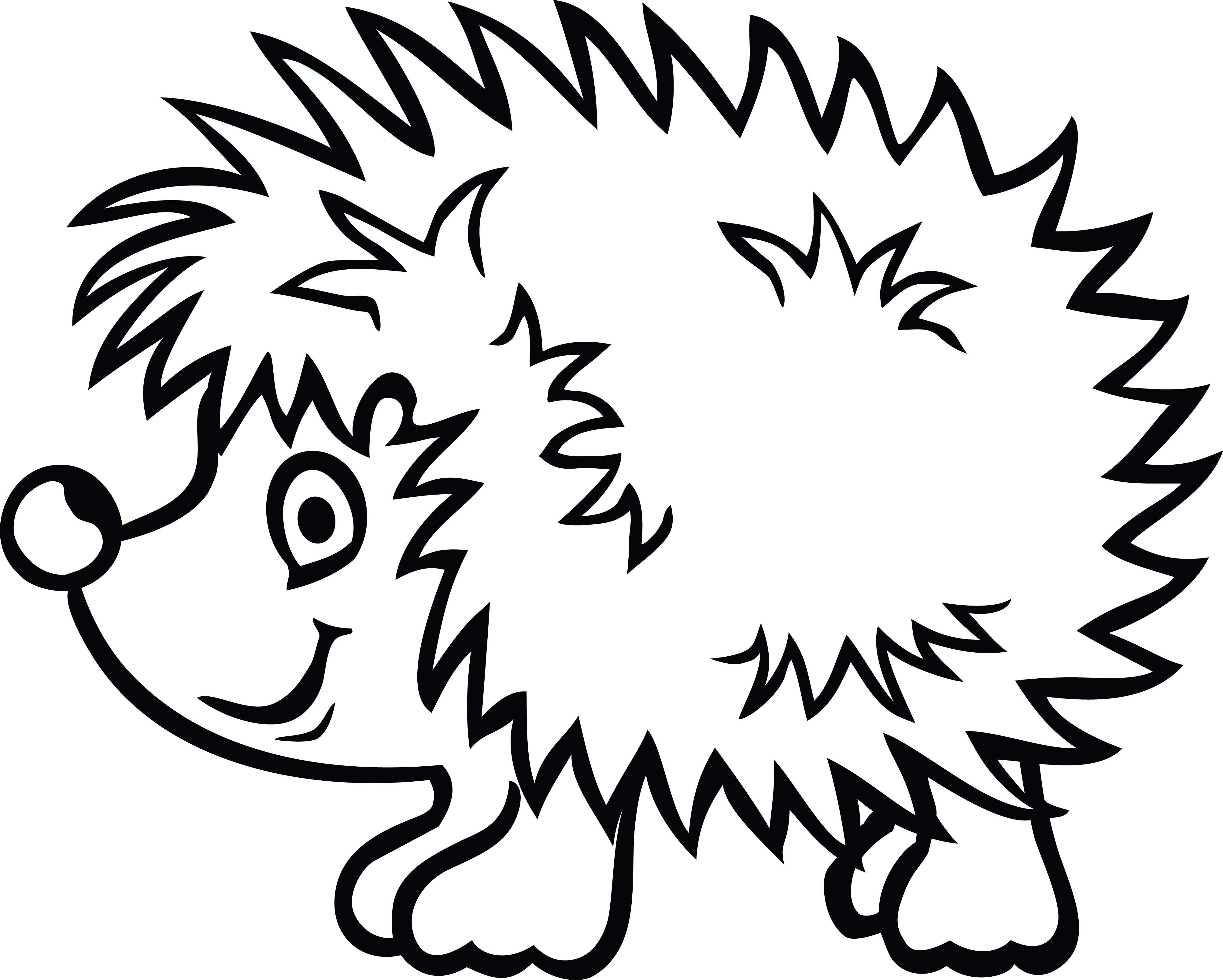 Hedgehog PNG Black And White - 48662