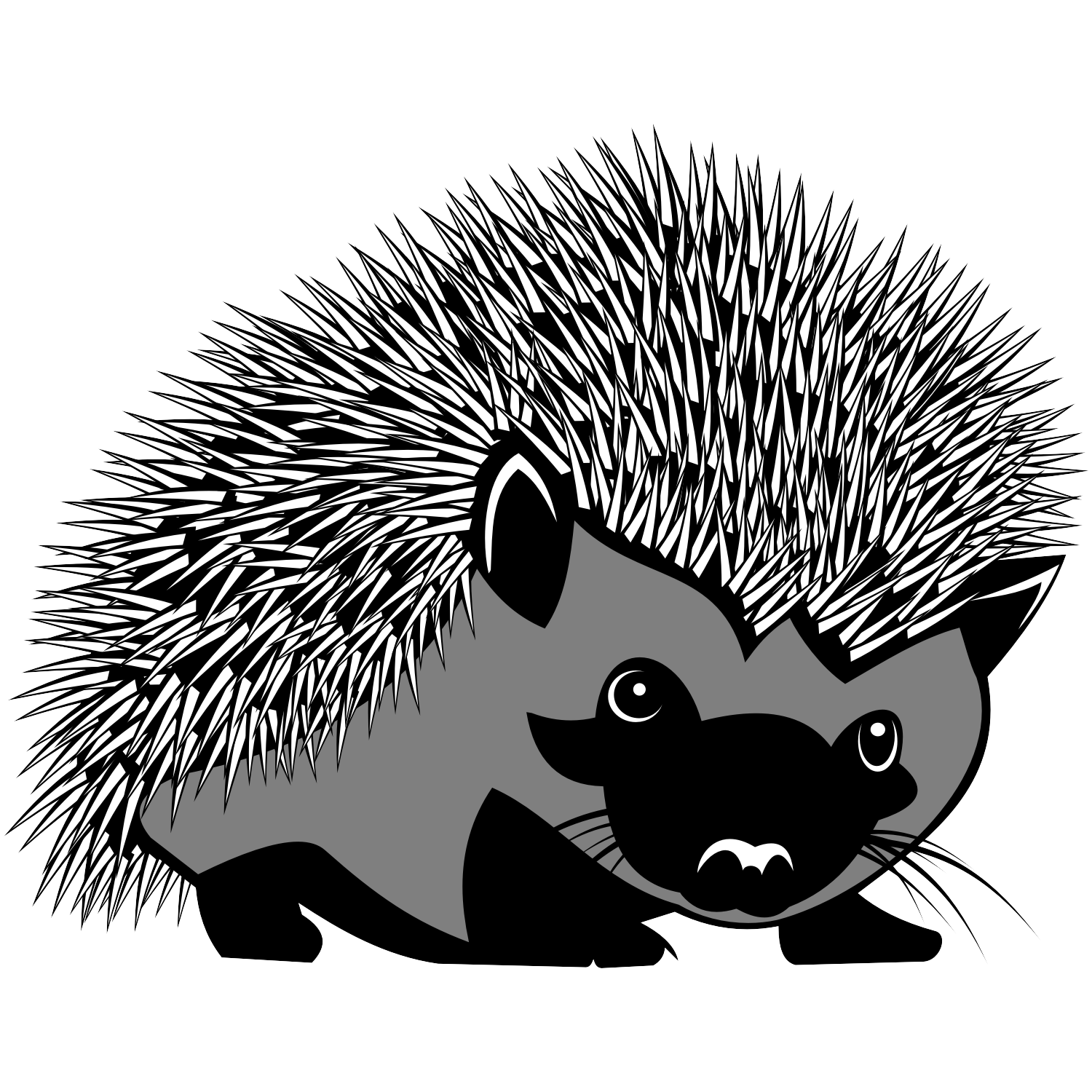 Hedgehog PNG Black And White - 48652