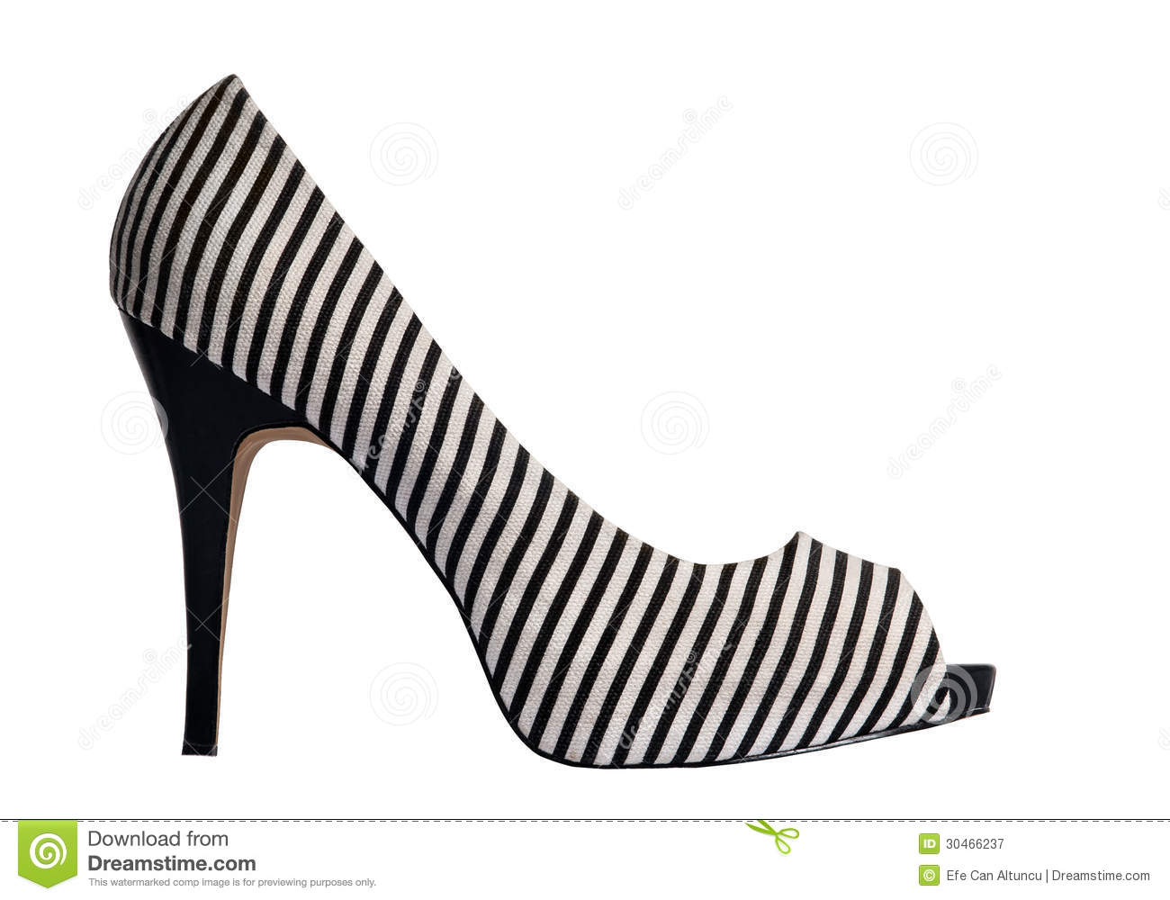 black heels high isolated shoe striped stripes thin white PlusPng.com  - High Heel Shoe PNG Black And White