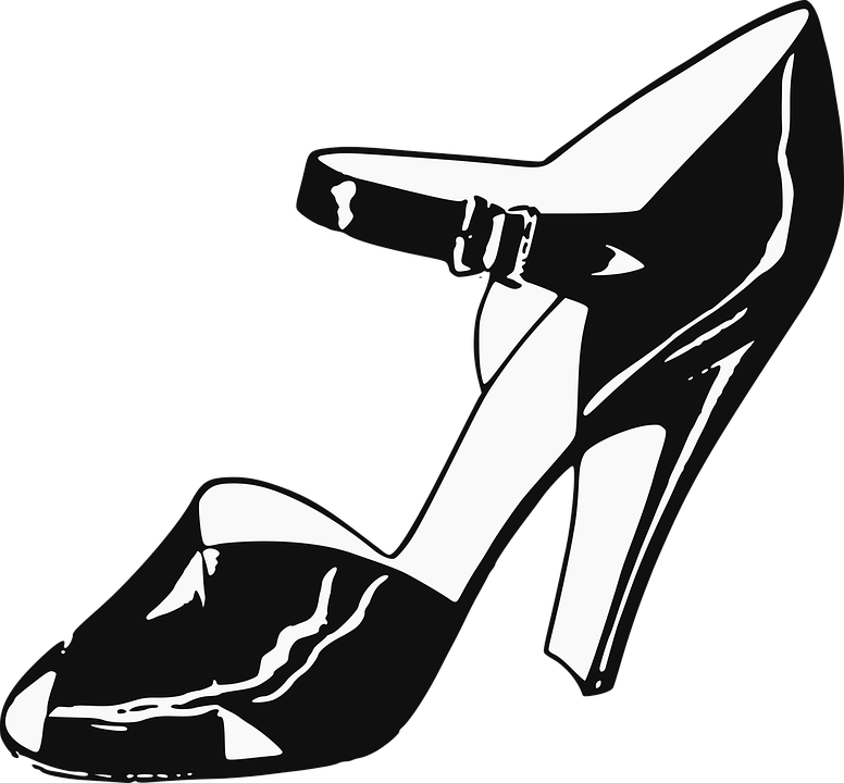 High-Heels, Foot, Shoe, Female, Lady, Woman, Style - High Heel Shoe PNG Black And White