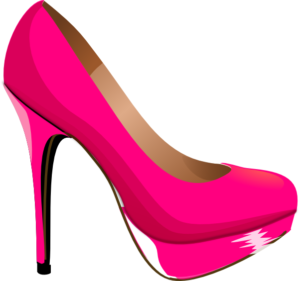 kids pink heels clip art | Pink Highheal Shoe clip art - vector clip art  online - High Heel Shoe PNG Black And White