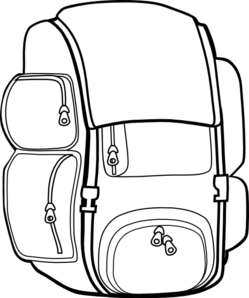 backpack clip art black and w