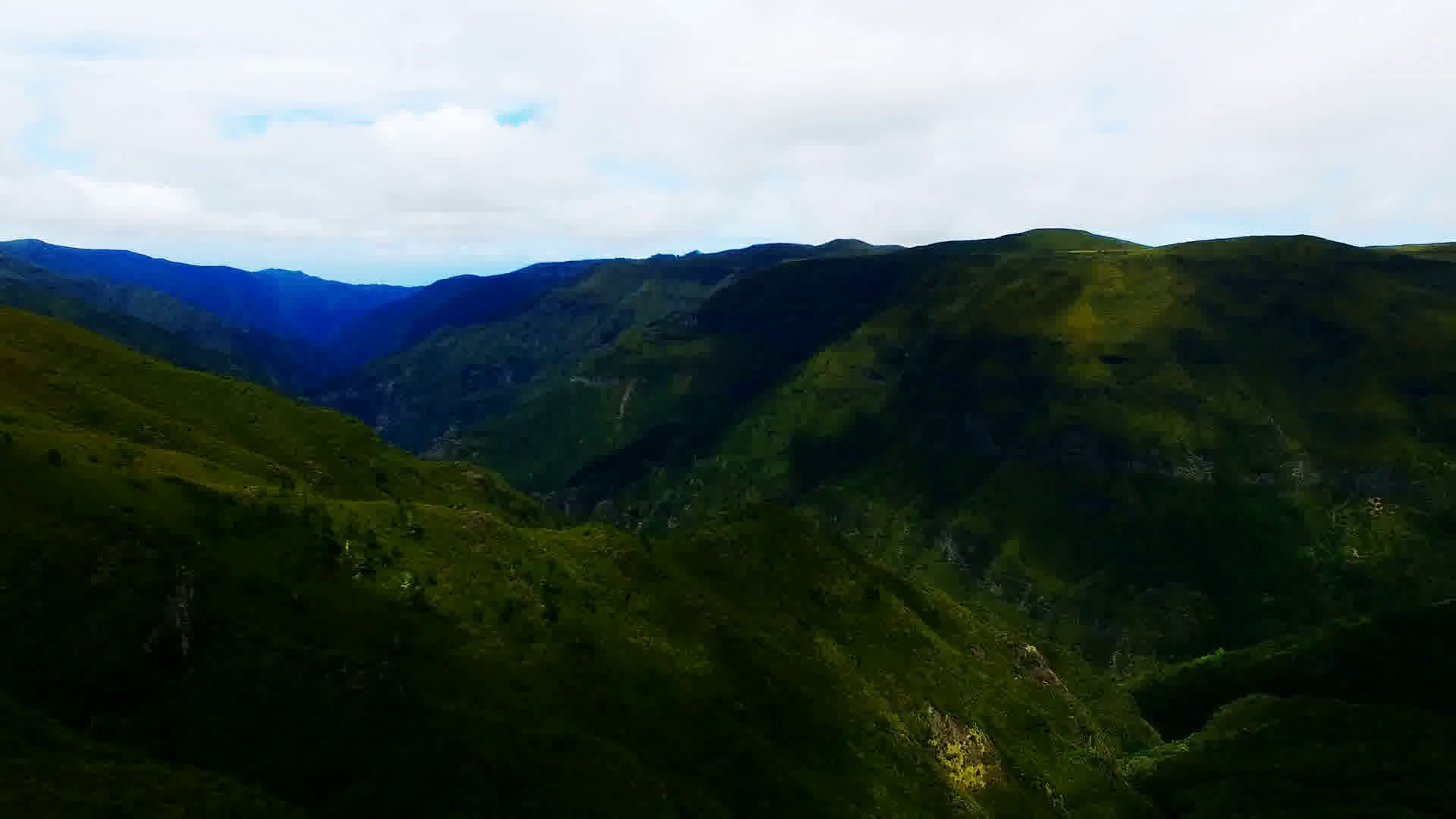 Portugal Madeira Funchal 4k travel aerial video background. Flight over  mountain forest valley hills, ocean sea coast and blue sky clouds. - Hill Background PNG