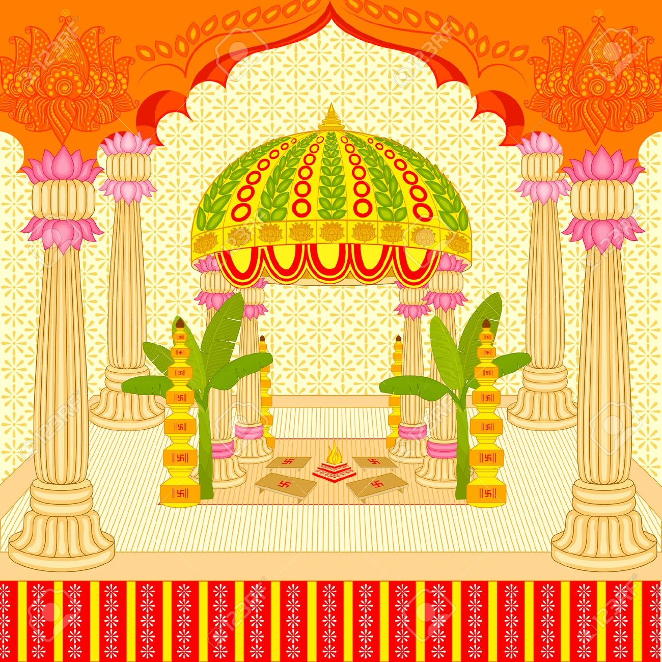 vector illustration of Indian wedding mandap (stage) Stock Illustration -  26446132 - Hindu Wedding Mandap PNG Indian