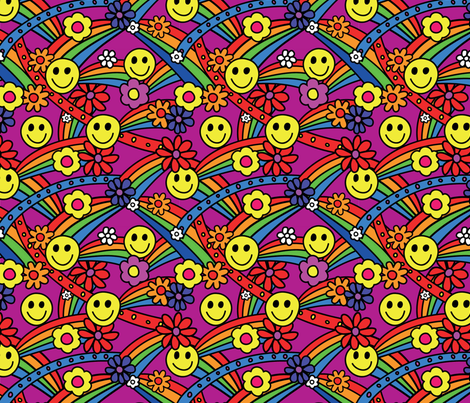 Rainbow Smiley Hippie Pattern fabric by hippygiftshop on Spoonflower -  custom fabric - Hippie PNG HD