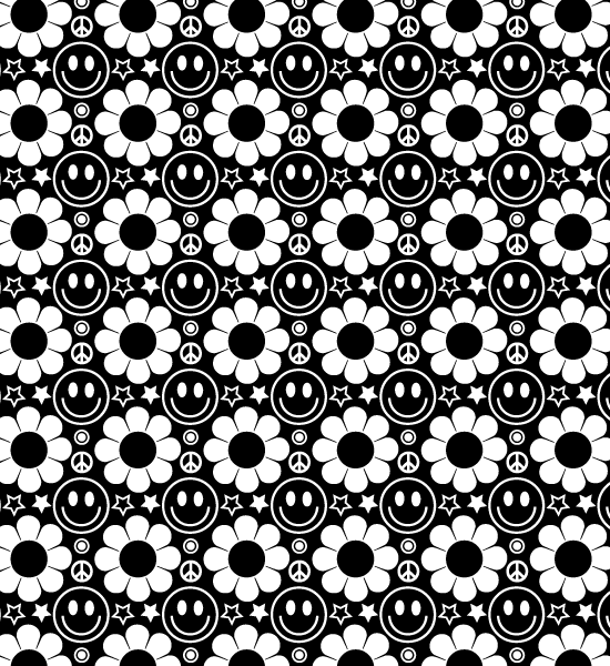 white-and-black-hippie-pattern - Hippie PNG HD