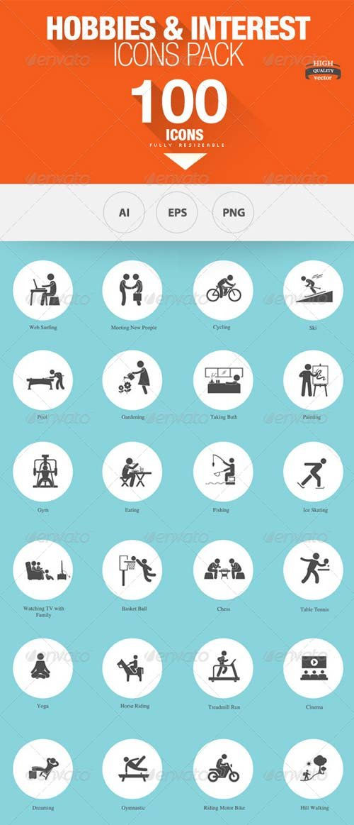 GraphicRiver 100 - Hobbies and Interests Icons - Hobbies And Interests PNG