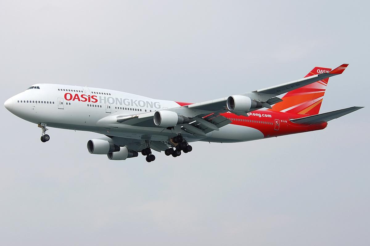 File:Oasis Hong Kong Airlines Boeing 747-400 B-LFB HKG 2007- - Hong Kong Airlines PNG