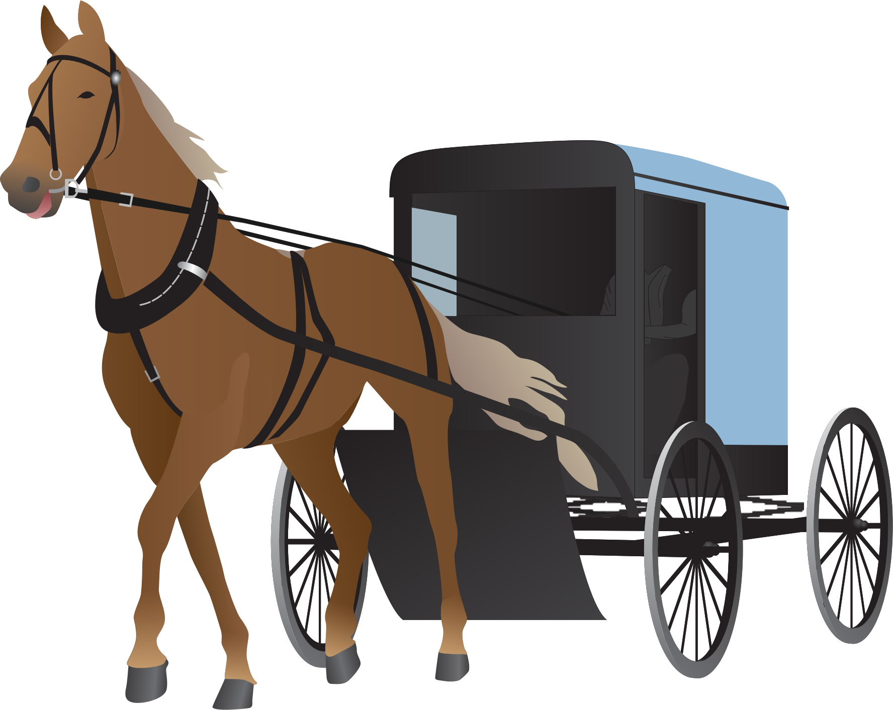 BIG IMAGE (PNG) - Horse And Buggy PNG