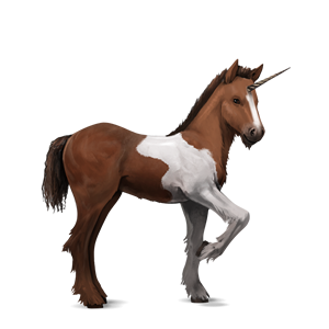 File:Bay Tobiano Unicorn Foal.png - Horse And Foal PNG