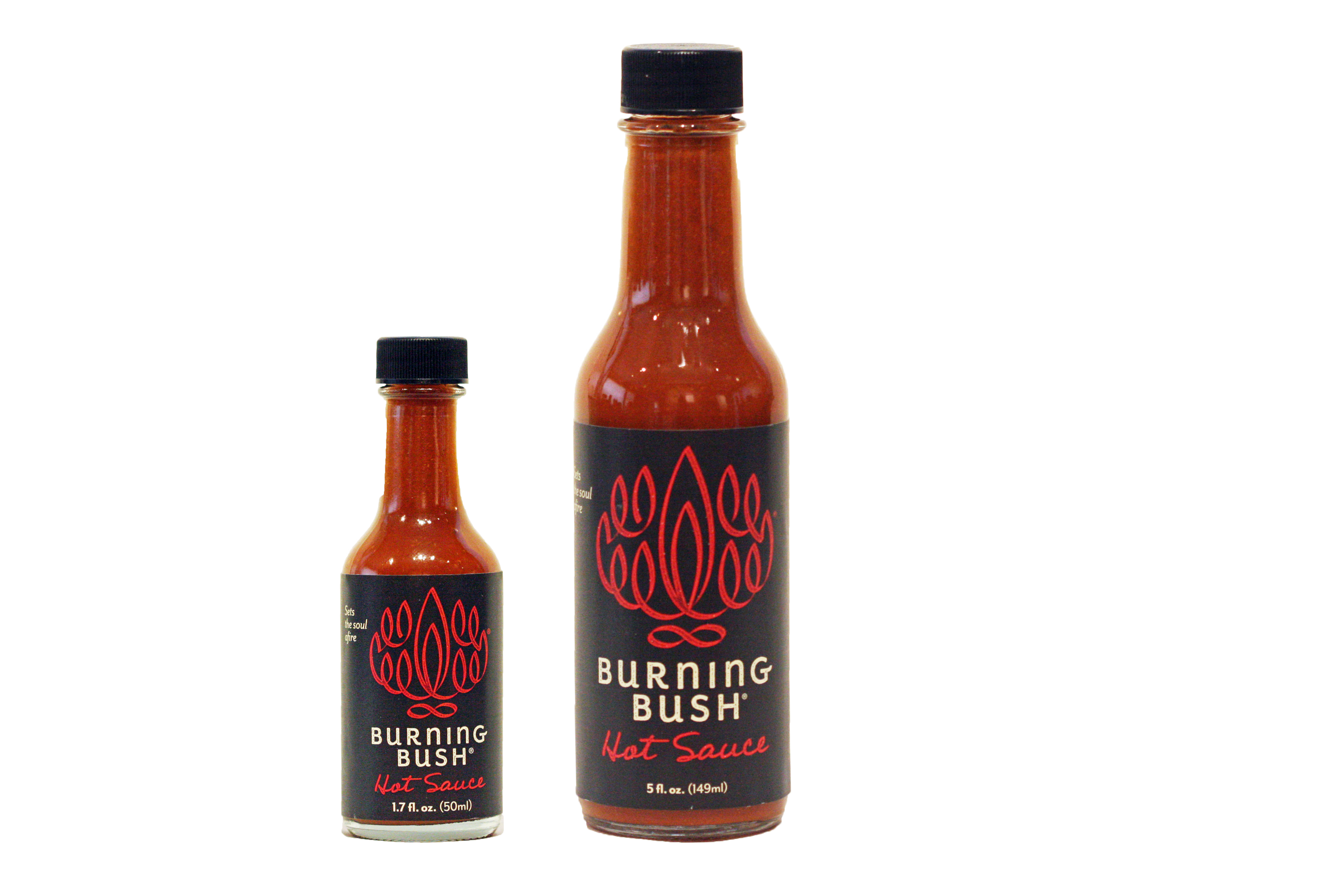 Burning Bush® Hot Sauce fuses heat with flavor in its exotic pairing of  Western chilies and ancient Middle Eastern herbs. Bottled as 1.7 oz. hot  shots and 5 PlusPng.com  - Hot Sauce Bottle PNG
