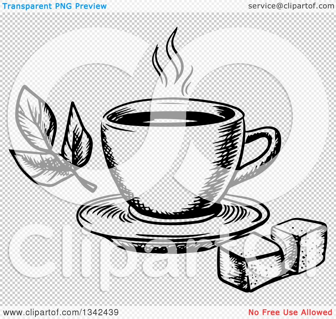 PNG file has a PlusPng.com  - Hot Tea PNG Black And White