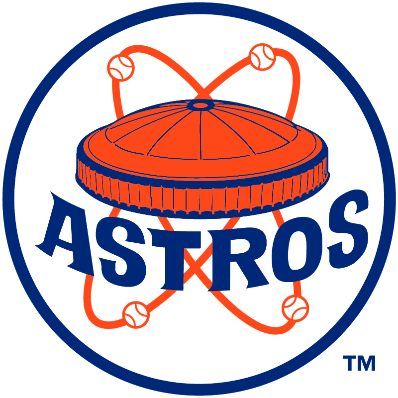 Houston Astros Alternate Logo (1972) - Orange and blue Astrodome stadium  with baseballs orbiting - Houston Astros PNG