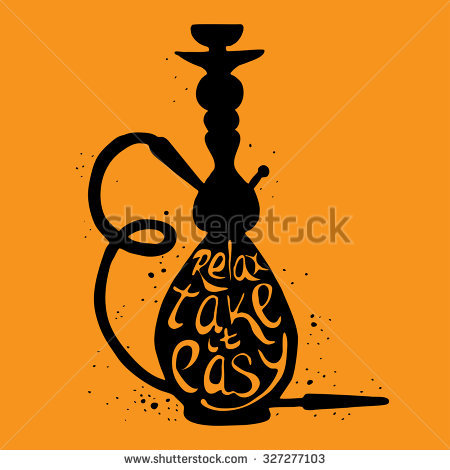 Hookah icon with phrase relax take it easy, vector illustration with  smoking pipe, hubble - Hubble Bubble PNG